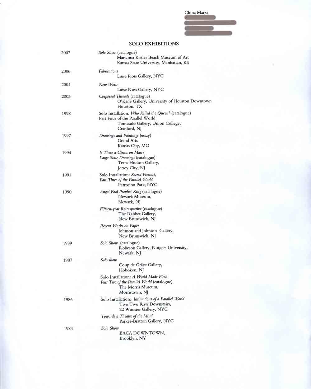 China Mark's Resume, pg 1